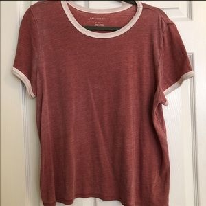 Red sweater ringer tee